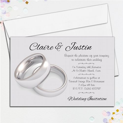 10 Personalised Wedding Silver Rings Invitations Day/Evening N39